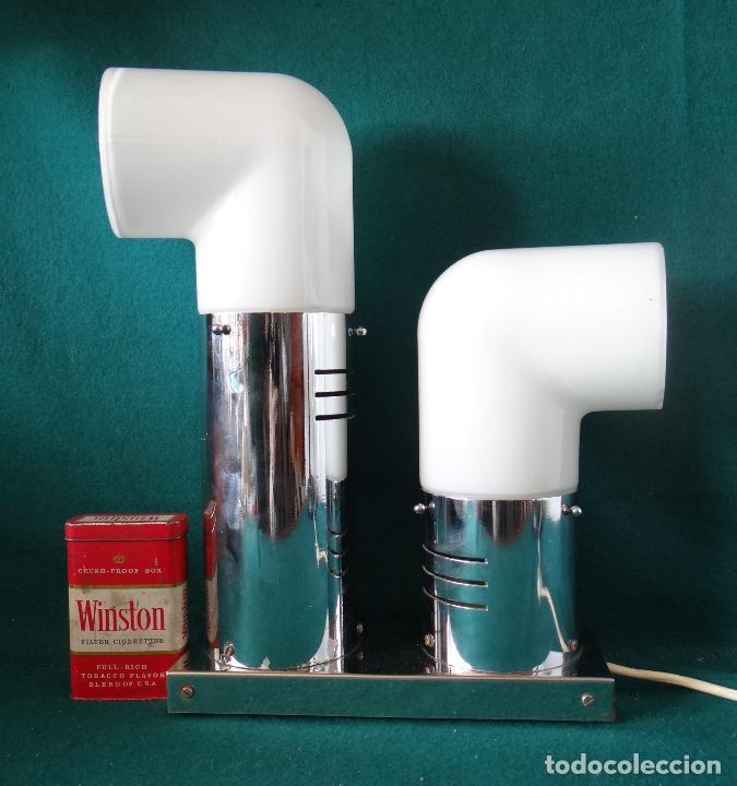 Vintage: LAMPARA CROMADA MESA VINTAGE. DISEÑO 1970. SPACE AGE. FUNCIONAMIENTO. - Foto 3 - 68247869