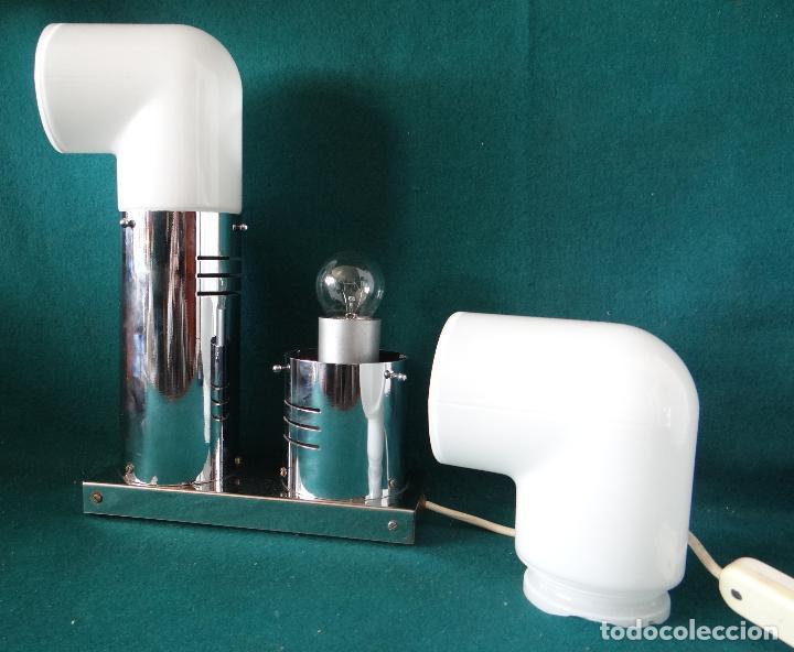 Vintage: LAMPARA CROMADA MESA VINTAGE. DISEÑO 1970. SPACE AGE. FUNCIONAMIENTO. - Foto 5 - 68247869