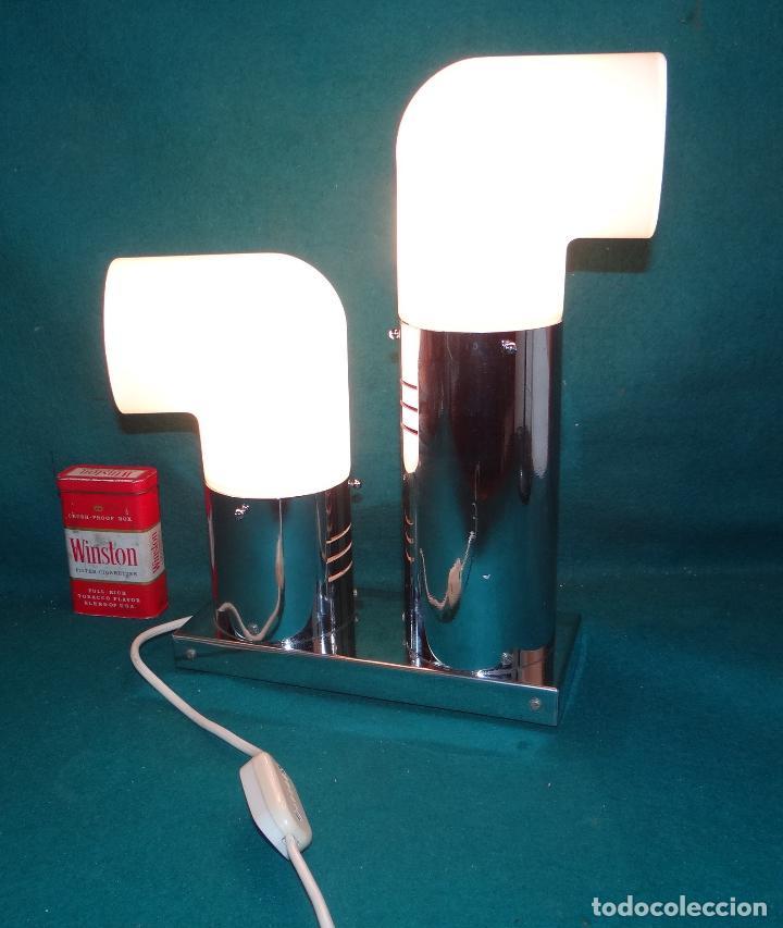 Vintage: LAMPARA CROMADA MESA VINTAGE. DISEÑO 1970. SPACE AGE. FUNCIONAMIENTO. - Foto 12 - 68247869