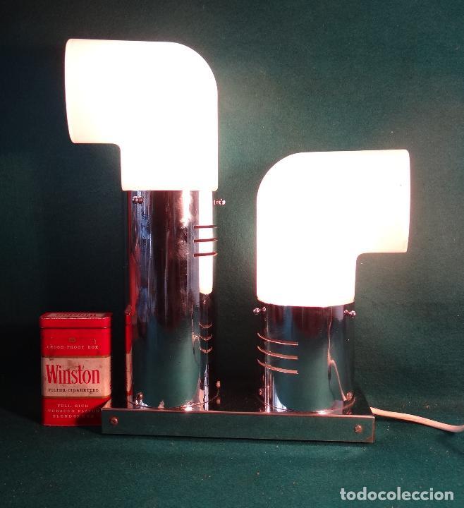 Vintage: LAMPARA CROMADA MESA VINTAGE. DISEÑO 1970. SPACE AGE. FUNCIONAMIENTO. - Foto 13 - 68247869