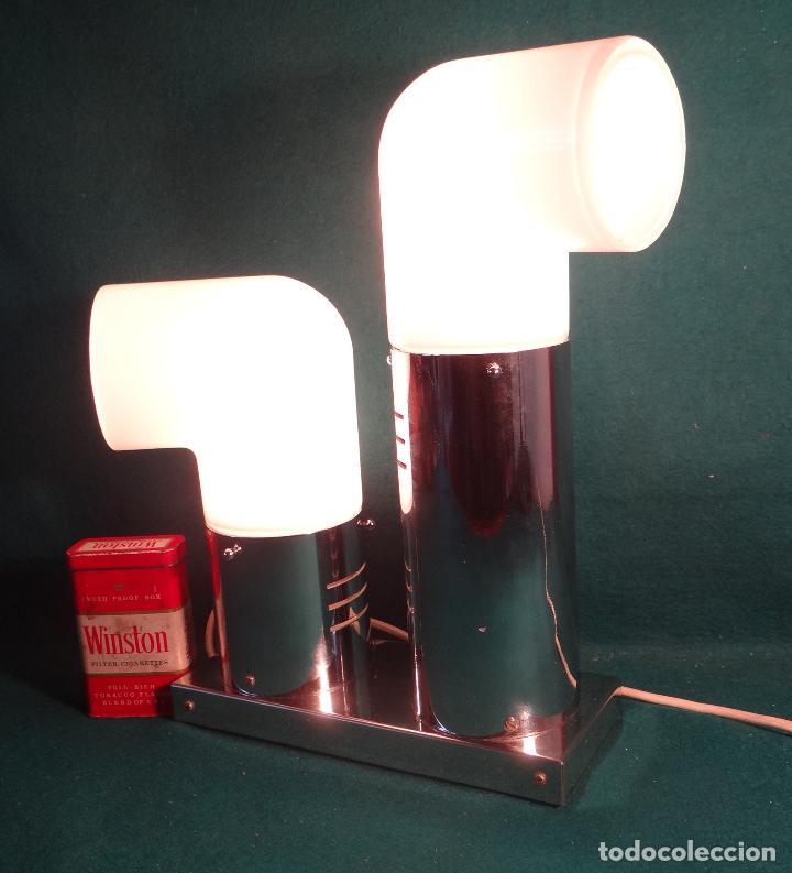 Vintage: LAMPARA CROMADA MESA VINTAGE. DISEÑO 1970. SPACE AGE. FUNCIONAMIENTO. - Foto 17 - 68247869