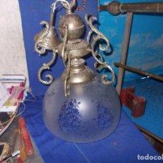 Vintage: LAMPARA METAL Y TULIPA DE CRISTAL. Lote 71245155