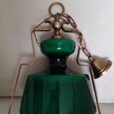 Vintage: LAMPARA DE TECHO CRISTAL Y BRONCE. Lote 71620675