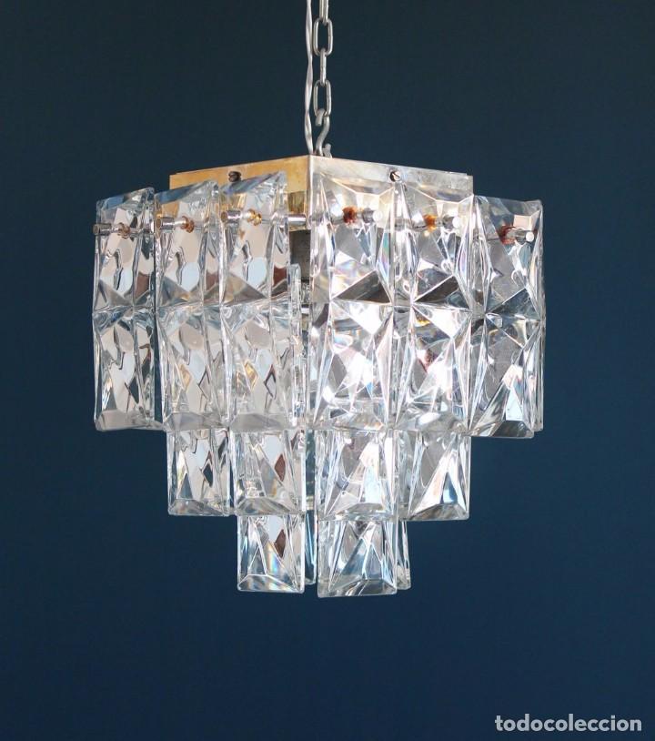 lmpara de techo de cristal y acero cromado de kinkeldey leuchten alemania