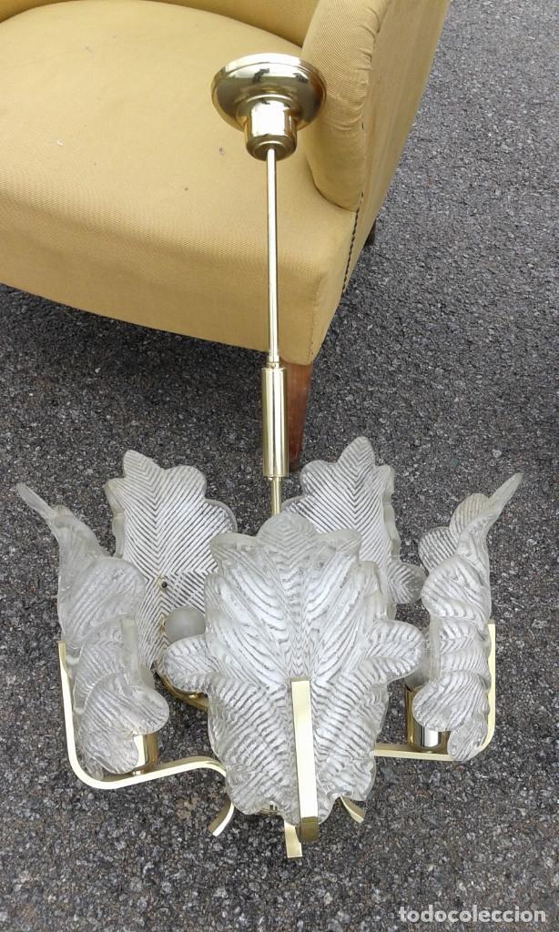 Vintage: GRAN Lámpara vintage años 50 60. Carl Fagerlund para Orrefors. Cristal y latón dorado. Espectacular. - Foto 5 - 74264495