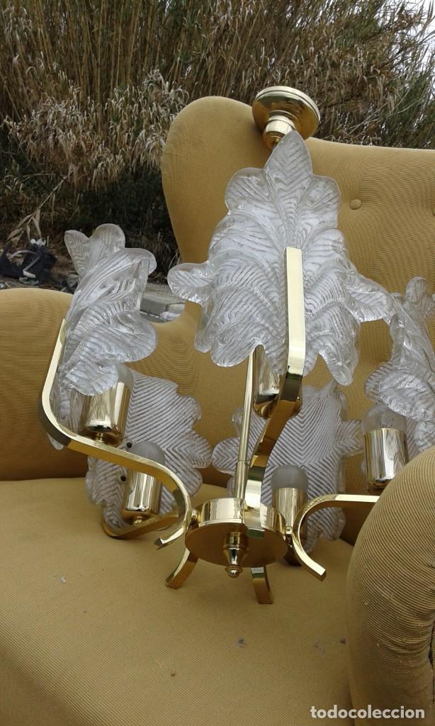 Vintage: GRAN Lámpara vintage años 50 60. Carl Fagerlund para Orrefors. Cristal y latón dorado. Espectacular. - Foto 9 - 74264495
