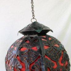 Vintage: LAMPARA DE TECHO EN HIERRO DE FORJA. Lote 74334107