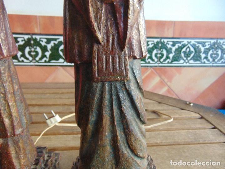 Vintage: PAREJA DE LAMPARAS DE SOBREMESA TALLADAS EN MADERA PERSONAJES ORIENTALES - Foto 7 - 75307135