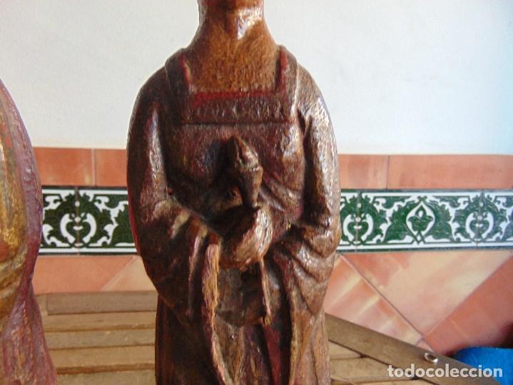 Vintage: PAREJA DE LAMPARAS DE SOBREMESA TALLADAS EN MADERA PERSONAJES ORIENTALES - Foto 8 - 75307135