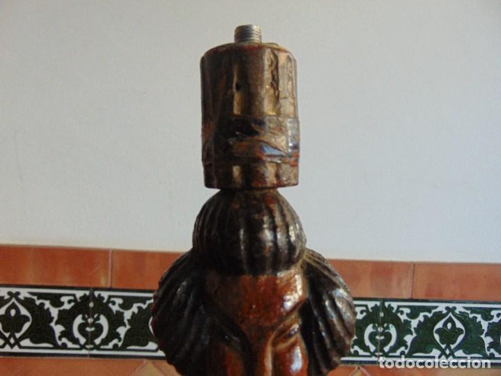 Vintage: PAREJA DE LAMPARAS DE SOBREMESA TALLADAS EN MADERA PERSONAJES ORIENTALES - Foto 10 - 75307135