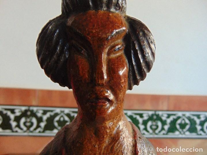 Vintage: PAREJA DE LAMPARAS DE SOBREMESA TALLADAS EN MADERA PERSONAJES ORIENTALES - Foto 11 - 75307135