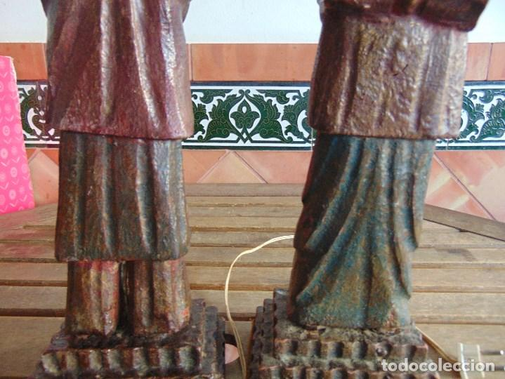 Vintage: PAREJA DE LAMPARAS DE SOBREMESA TALLADAS EN MADERA PERSONAJES ORIENTALES - Foto 16 - 75307135