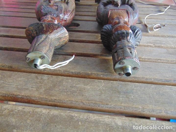 Vintage: PAREJA DE LAMPARAS DE SOBREMESA TALLADAS EN MADERA PERSONAJES ORIENTALES - Foto 18 - 75307135