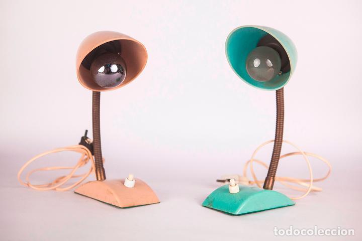 Vintage: Pequeñas Lámparas de Sobremesa - Flexo - Lámpara industrial - Verde y Beige - Vintage - Años 60 - Foto 2 - 76508539