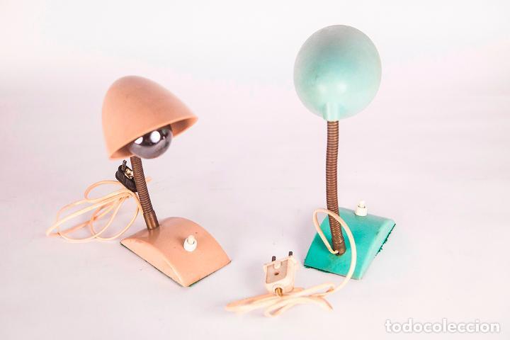 Vintage: Pequeñas Lámparas de Sobremesa - Flexo - Lámpara industrial - Verde y Beige - Vintage - Años 60 - Foto 3 - 76508539