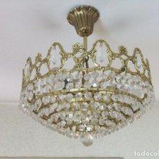 Vintage: LAMPARA DE CRISTAL DE TECHO. Lote 76695047