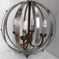 Vintage: LAMPARA ESFERA DE HIERRO COLGANTE . Lote 76955501