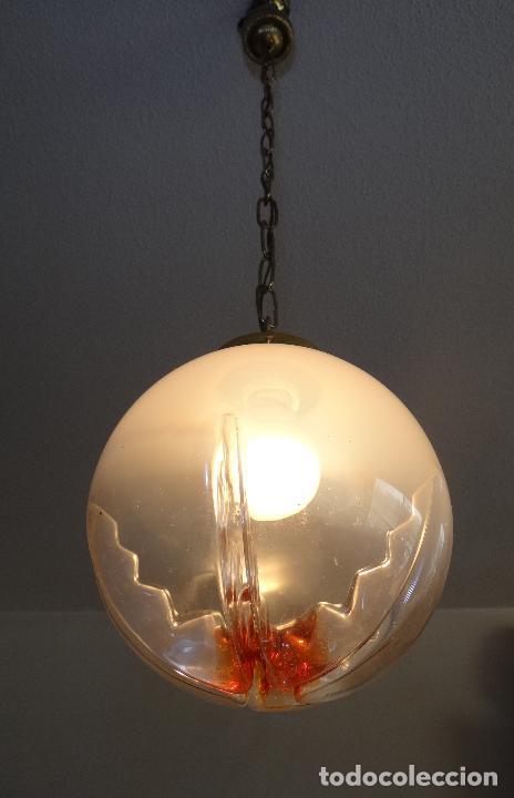 LAMPARA VINTAGE. TULIPA GLOBO DE CRISTAL MURANO. FUNCIONAMIENTO. (Vintage - Lámparas, Apliques, Candelabros y Faroles)
