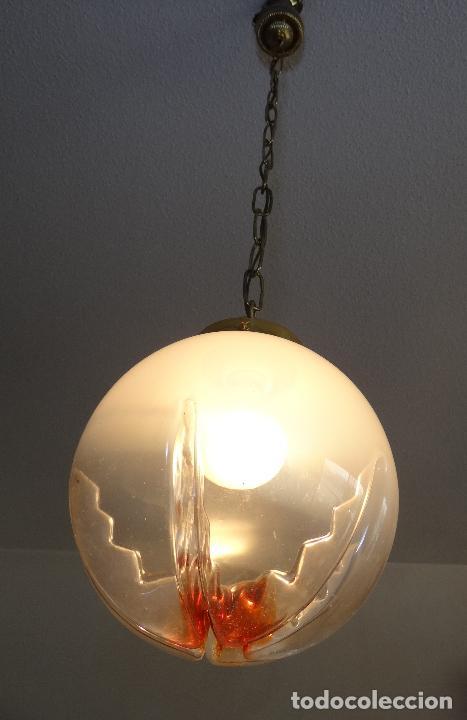 Vintage: LAMPARA VINTAGE. TULIPA GLOBO DE CRISTAL MURANO. FUNCIONAMIENTO. - Foto 8 - 77829361