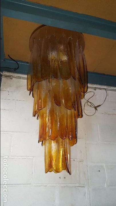 Vintage: Lámpara chandelier de cristal de Murano, atribuida a Mazzega,, vintage 70s. - Foto 5 - 78208957