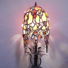 Vintage: EXTRAORDINARIA LAMPARA DE SOBREMESA DE VIDRIERA EMPLOMADA ESTILO ART DECO.. Lote 79066481