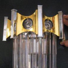 Vintage: LAMPARA APLIQUE DE PARED ORIGINAL GAETANO SCIOLARI LATON DORADO NIKELADO Y CRISTAL MURANO DISEÑO. Lote 79795033
