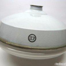 Vintage: ESPECTACULAR XL LAMPARA DE TECHO O FOCO INDUSTRIAL MARCA IEP - ESMALTADO TULIPA CRISTAL. Lote 60004695