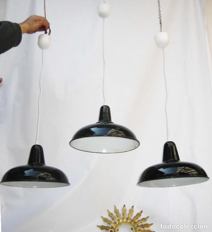 3 lamparas anitguas industriales de taller hier comprar - Lamparas industriales vintage ...