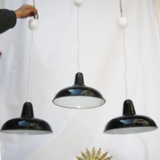 Vintage: 3 LAMPARAS ANITGUAS INDUSTRIALES DE TALLER HIERRO PORCELANICO EGSA DECORACION INDUSTRIAL. Lote 81874468