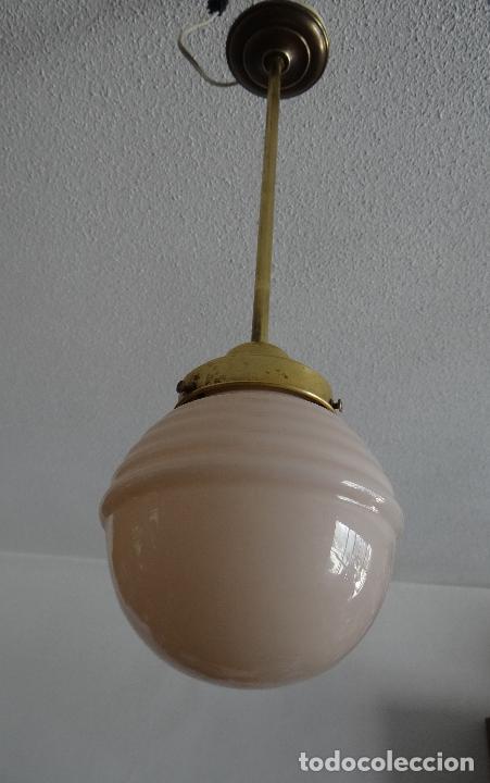 Vintage: LAMPARA DECO VINTAGE. TULIPA GLOBO OPALINA ROSA. FUNCIONAMIENTO. - Foto 3 - 83742912