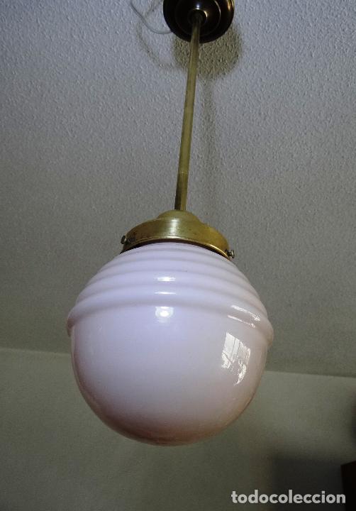 Vintage: LAMPARA DECO VINTAGE. TULIPA GLOBO OPALINA ROSA. FUNCIONAMIENTO. - Foto 4 - 83742912