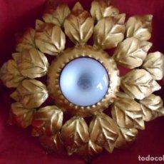 Vintage: LAMPARA O APLIQUE EN FOMA DE SOL EN FORJA DORADA - VINTAGE AÑOS 60 -.. Lote 84979664