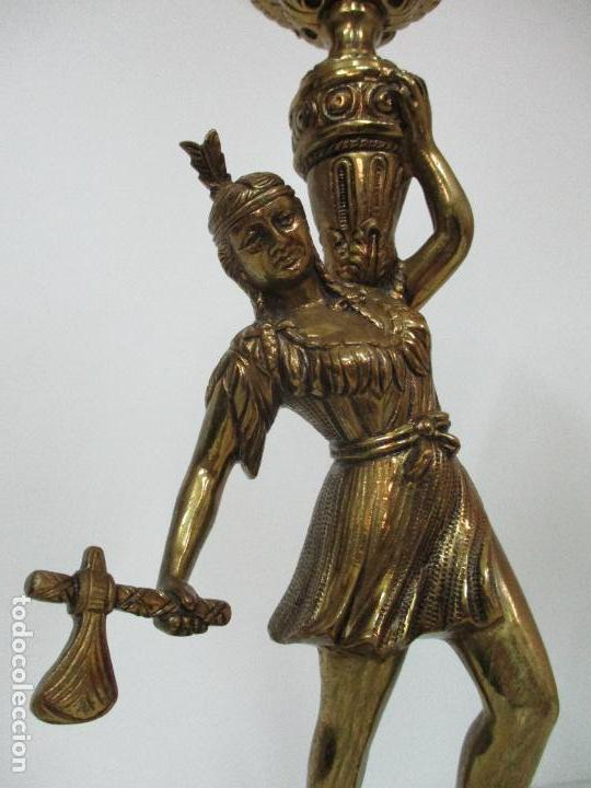 Vintage: Pareja de Lámparas Sobremesa - Lámpara - Bronce, Cincelado -Tulipa de Cristal -51 cm Altura -Años 60 - Foto 7 - 85701076