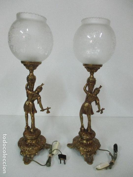 Vintage: Pareja de Lámparas Sobremesa - Lámpara - Bronce, Cincelado -Tulipa de Cristal -51 cm Altura -Años 60 - Foto 12 - 85701076