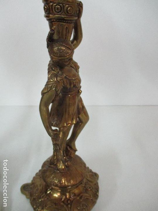 Vintage: Pareja de Lámparas Sobremesa - Lámpara - Bronce, Cincelado -Tulipa de Cristal -51 cm Altura -Años 60 - Foto 14 - 85701076