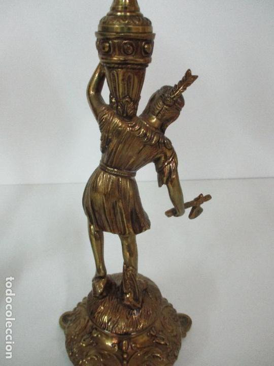 Vintage: Pareja de Lámparas Sobremesa - Lámpara - Bronce, Cincelado -Tulipa de Cristal -51 cm Altura -Años 60 - Foto 15 - 85701076