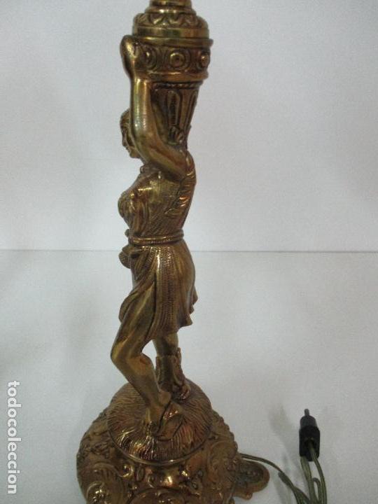 Vintage: Pareja de Lámparas Sobremesa - Lámpara - Bronce, Cincelado -Tulipa de Cristal -51 cm Altura -Años 60 - Foto 16 - 85701076