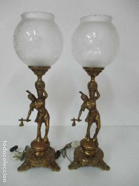 Vintage: Pareja de Lámparas Sobremesa - Lámpara - Bronce, Cincelado -Tulipa de Cristal -51 cm Altura -Años 60 - Foto 17 - 85701076