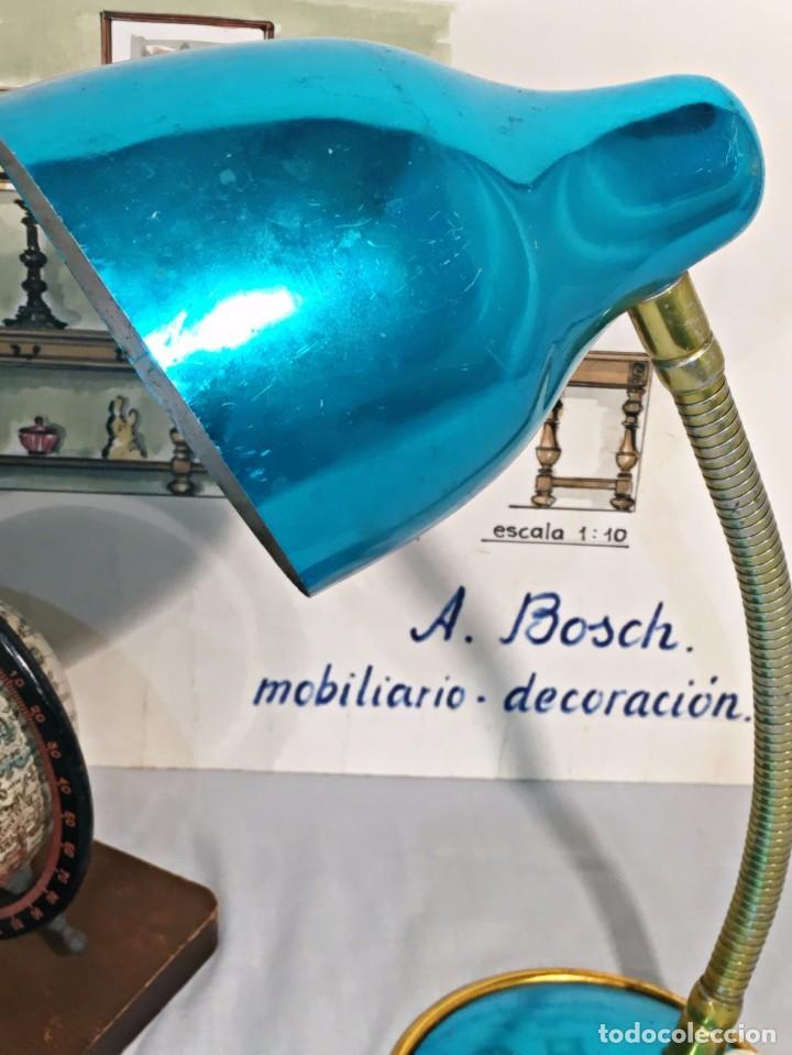 Vintage: Lámpara flexo vintage pop azul eléctrico aluminio anodizado y latón dorado antigua pop - Foto 3 - 184348130
