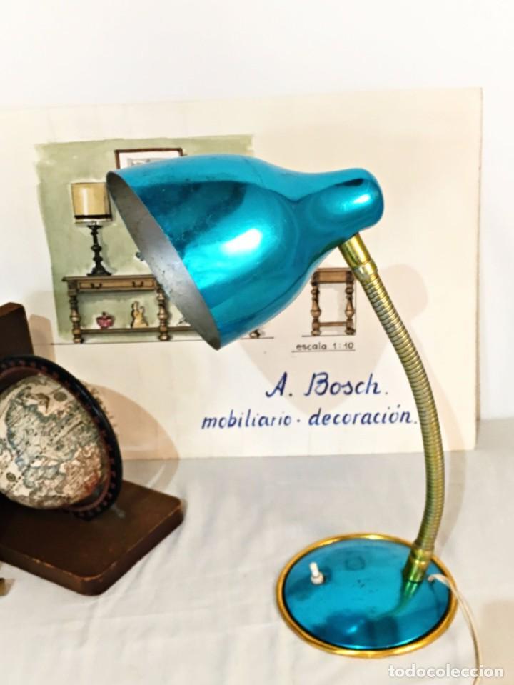 Vintage: Lámpara flexo vintage pop azul eléctrico aluminio anodizado y latón dorado antigua pop - Foto 8 - 184348130