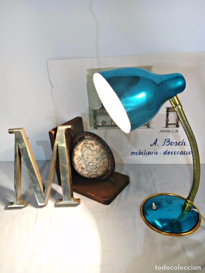 Vintage: Lámpara flexo vintage pop azul eléctrico aluminio anodizado y latón dorado antigua pop - Foto 9 - 184348130
