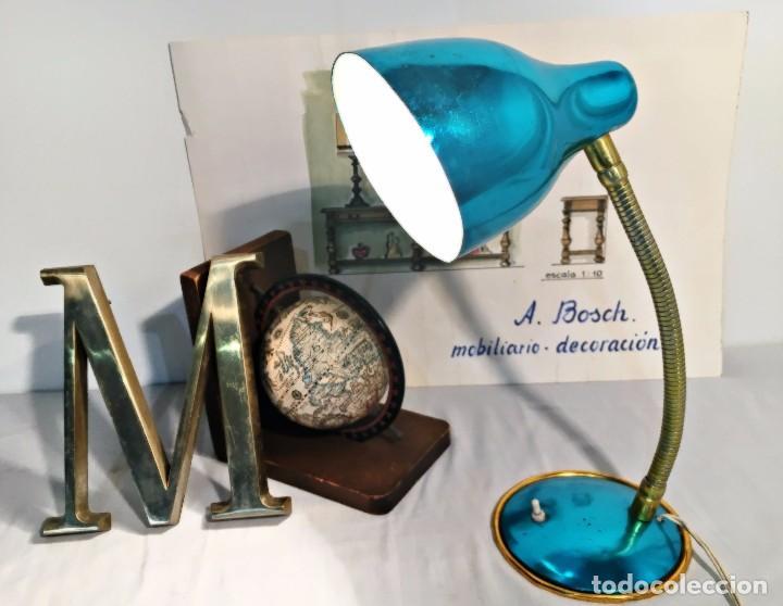 Vintage: Lámpara flexo vintage pop azul eléctrico aluminio anodizado y latón dorado antigua pop - Foto 10 - 184348130
