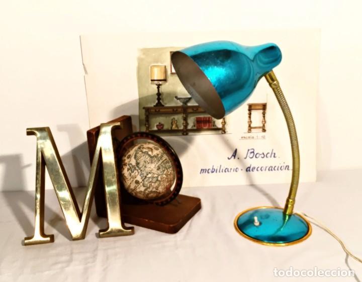 Vintage: Lámpara flexo vintage pop azul eléctrico aluminio anodizado y latón dorado antigua pop - Foto 11 - 184348130