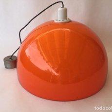 Vintage: LAMPARA DE TECHO SUSPENSIÓN NARANJA DOBLE CAMPANA BLANCA INTERIOR TRAMO MIGUEL MILÁ. Lote 86983996