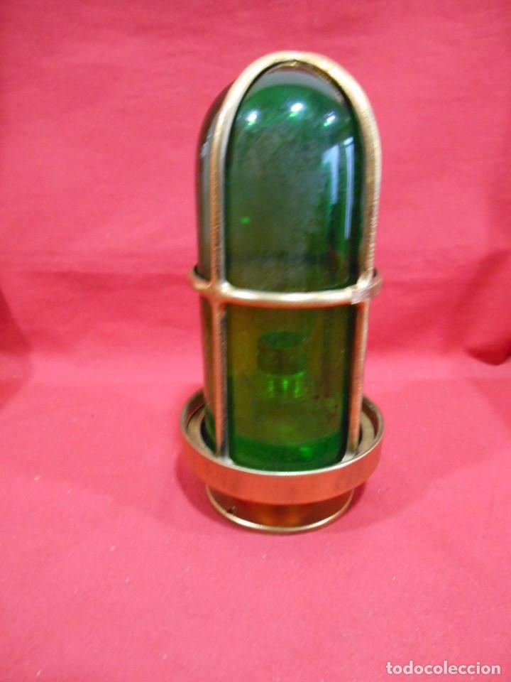 ANTIGUA LAMPARA DE BRONCE Y CRISTAL VERDE DE BARCO - ORIGINAL NO REPLICA - (Vintage - Lámparas, Apliques, Candelabros y Faroles)
