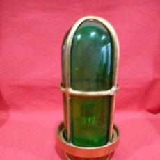 Vintage: ANTIGUA LAMPARA DE BRONCE Y CRISTAL VERDE DE BARCO - ORIGINAL NO REPLICA -. Lote 87252052