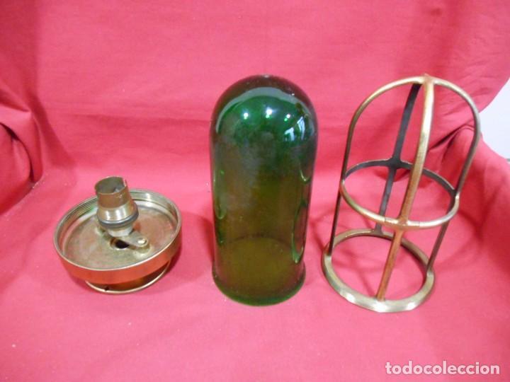 Vintage: ANTIGUA LAMPARA DE BRONCE Y CRISTAL VERDE DE BARCO - ORIGINAL NO REPLICA - - Foto 4 - 87252052