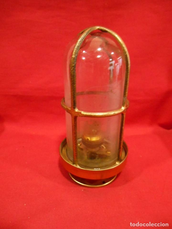ANTIGUA LAMPARA DE BRONCE Y CRISTAL TRANSPARENTE DE BARCO - ORIGINAL NO REPLICA - (Vintage - Lámparas, Apliques, Candelabros y Faroles)