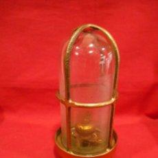 Vintage: ANTIGUA LAMPARA DE BRONCE Y CRISTAL TRANSPARENTE DE BARCO - ORIGINAL NO REPLICA -. Lote 87252132