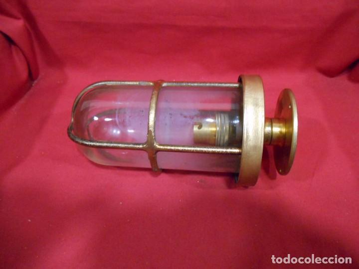 Vintage: ANTIGUA LAMPARA DE BRONCE Y CRISTAL TRANSPARENTE DE BARCO - ORIGINAL NO REPLICA - - Foto 2 - 87252132